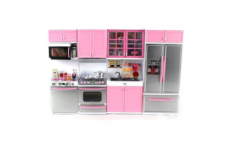 Bucatarie roz pentru fetite + papusa