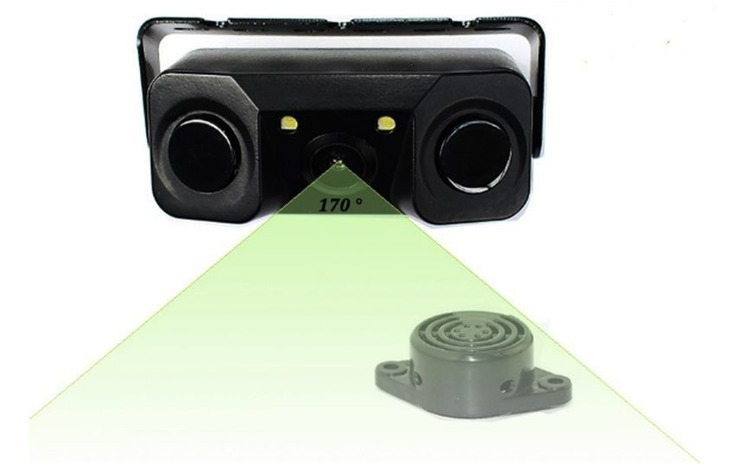 Sistem de parcare 2 in 1 cu camera de marsarier si 2 senzori de parcare incorpor