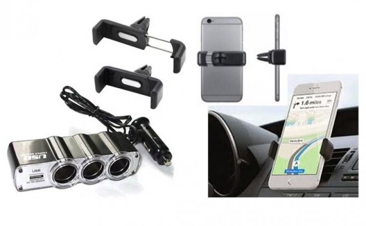 Imagine indisponibila pentru Pachet Auto - Priza bricheta tripla cu USB + Suport auto telefon, la doar 39 RON in loc de 89 RON