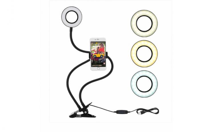 Suport selfie pentru telefon cu iluminar