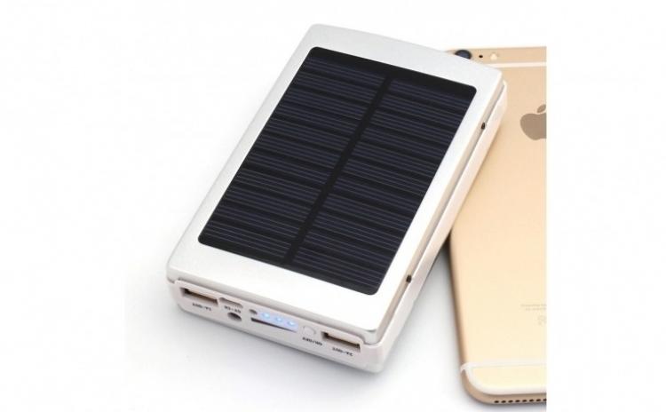 Baterie Externa Power Bank 20000 mah Incarcare Solara + Lanterna 20 Led C187