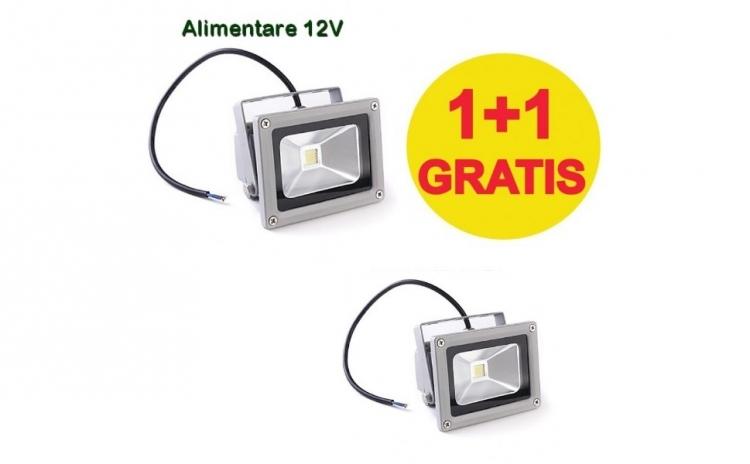 1+1 Gratis:Proiector Led 10 W cu alimentare la 12 V (poate fi alimentat la acumulatorul auto), ideal