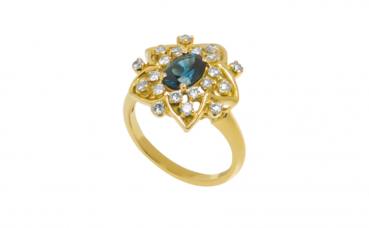 Inel din aur 18K, cu safir si diamante