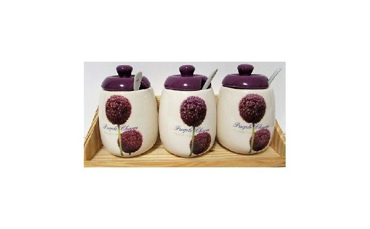 Set 3 Recipiente Din Ceramica Pentru Condimente Cu Suport Din Lemn