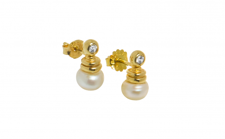 Cercei din aur galben 14K cu perla