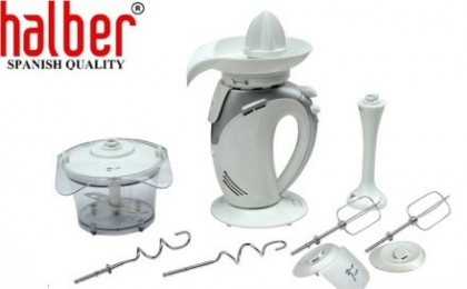 Mixer multifunctional 4 in 1 Halber: mixer de mana, blender, mini chopper si storcator cu doar 84 RON in loc de 169 RON