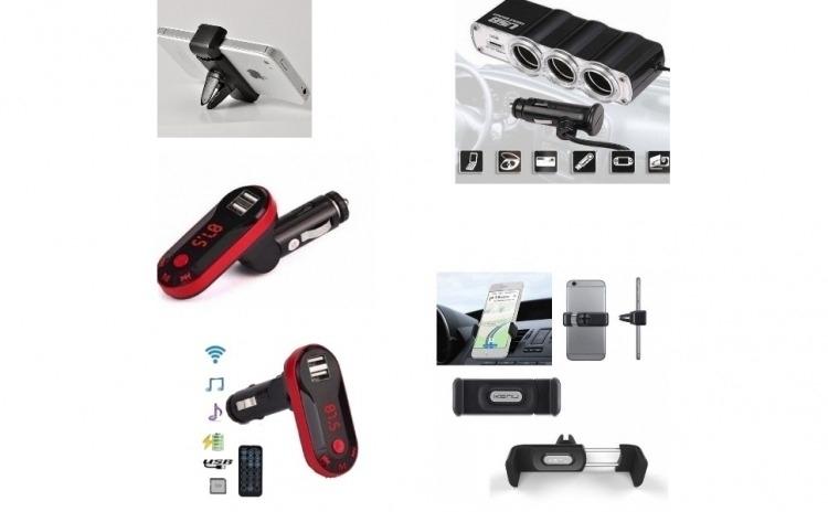 Pachet auto - Modulator FM cu Bluetooth, Mp3 player cu incarcator pentru diverse dispozitive incorporat + Priza bricheta tripla, cu USB + Suport auto telefon