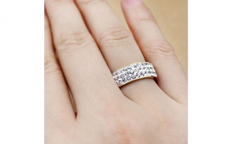 Inel Tip Verigheta Shine Crystals Inox Placat Cu Aur 18k