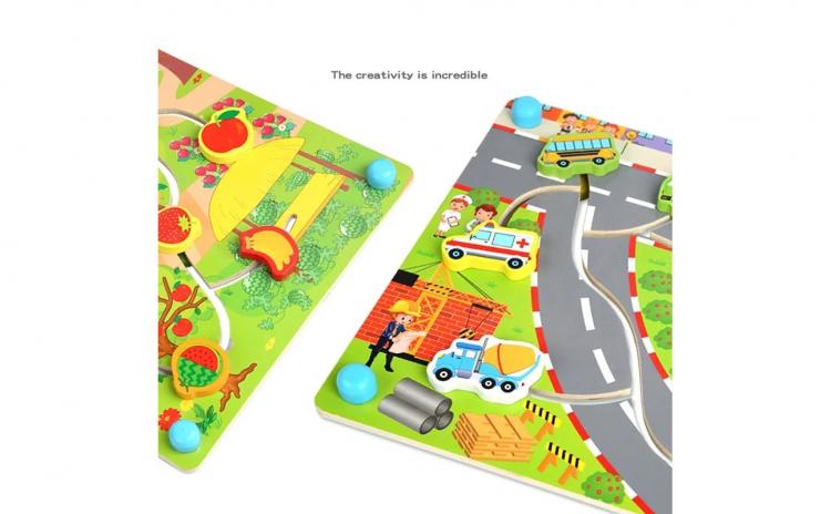 Joc puzzle Placa distractiva din lemn