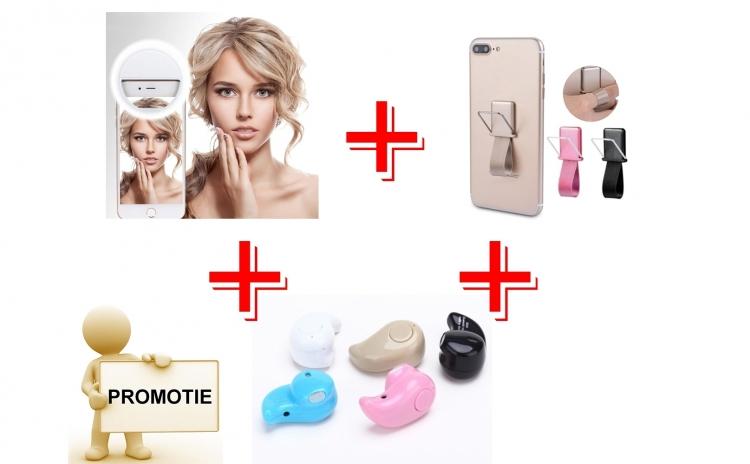 Mini casca Bluetooth + Suport telefon tip inel + Lampa LED selfie pentru telefon
