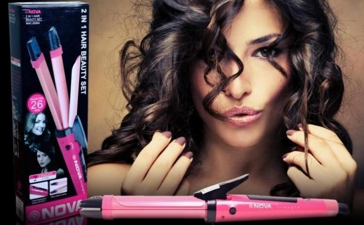 Hair Beauty Set 2 In 1 Placa Ondulator De Par Ceramica