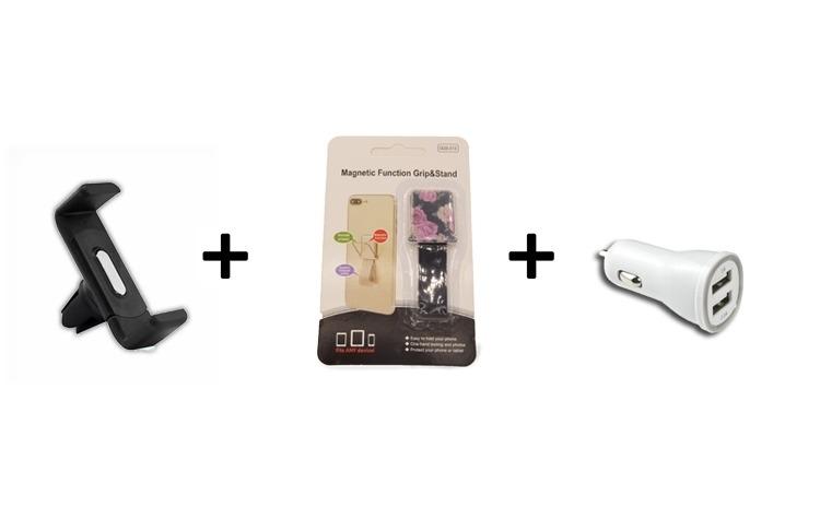 PACHET Suport grila ventilatie + Incarcator USB dublu + suport tip inel textil magnetic telefon