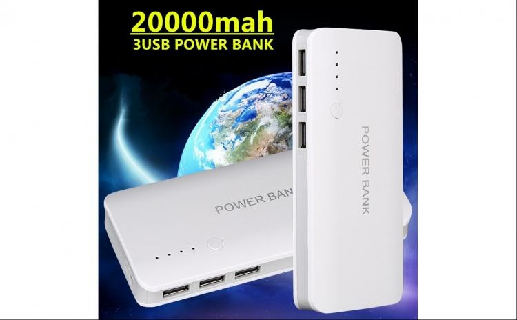 Baterie Externa Power 20000 mah baterie urgenta cu 3 USB pentru telefoane, tablete, camere foto/video C24