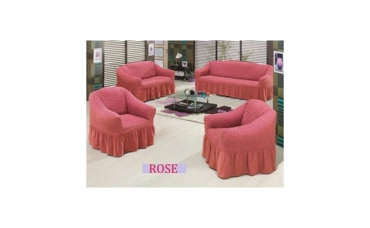 Set huse canapea 3 locuri si 2 huse fotolii - Roze
