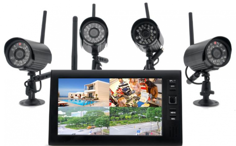 2.4ghz Wireless 4 Camera Kit Cu Lcd 7