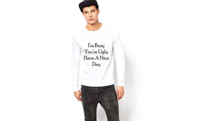 Bluza alba, barbati, Busy & Ugly
