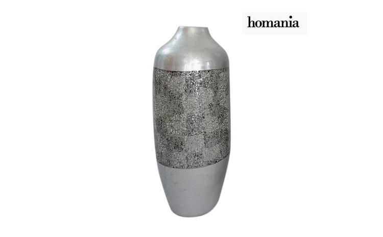 Vaza Bambus Argintiu (24 x 24 x 59 cm) by Homania