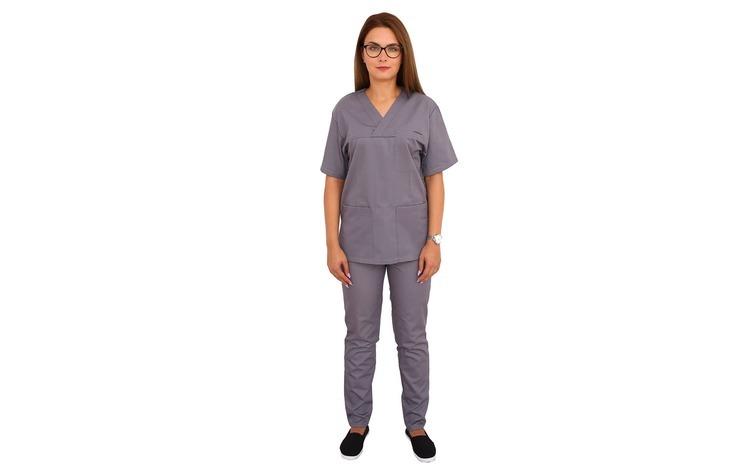 Costum medical gri cu bluza cu anchior