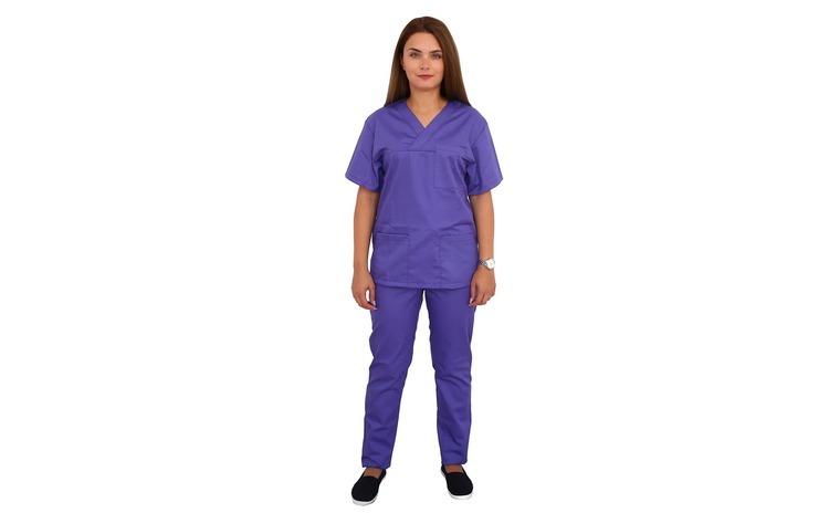 Costum medical mov, cu bluza cu anchior