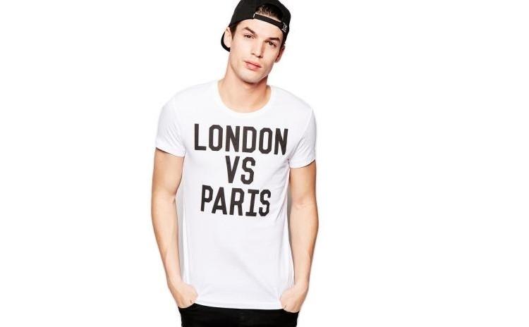 Tricou alb barbati - London vs Paris