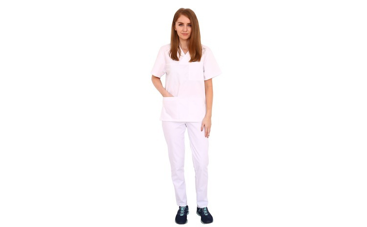 Costum medical alb cu bluza cu anchior