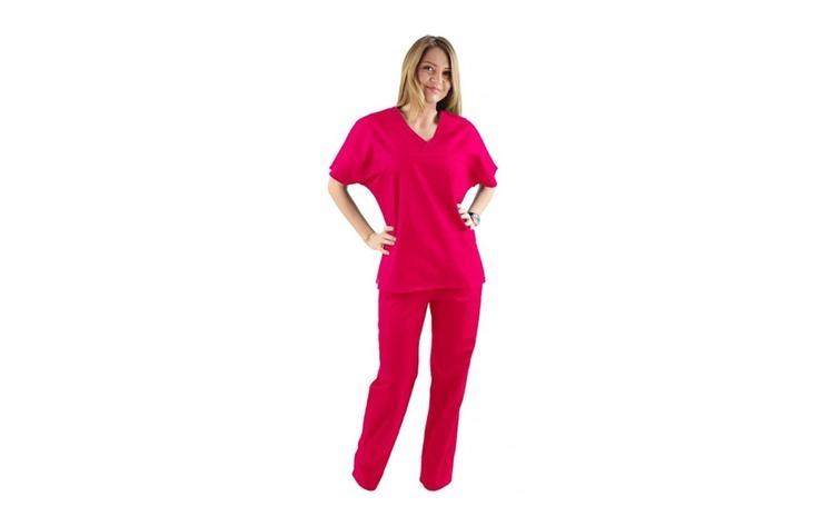 Costum medical ciclam cu bluza cu