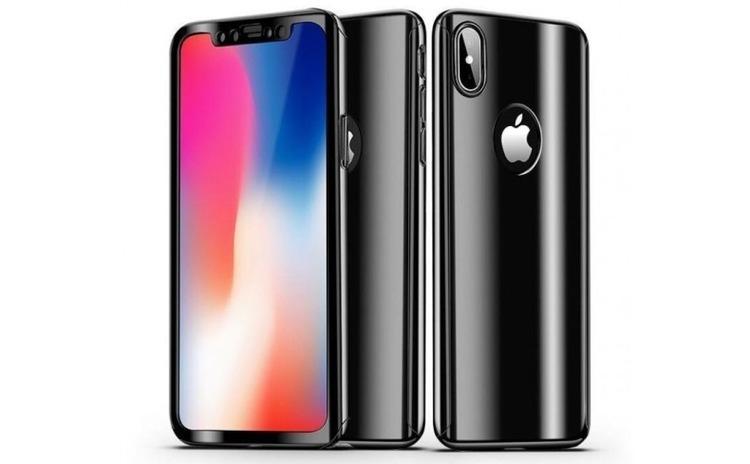 Husa Apple iPhone X Flippy Full Cover 360 Negru lucios + Folie de protectie