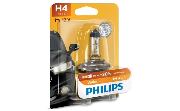 Imagine indisponibila pentru Bec auto cu halogen pentru far - Philips H4 Vision, +30%, 12V, 55W, 1 Buc