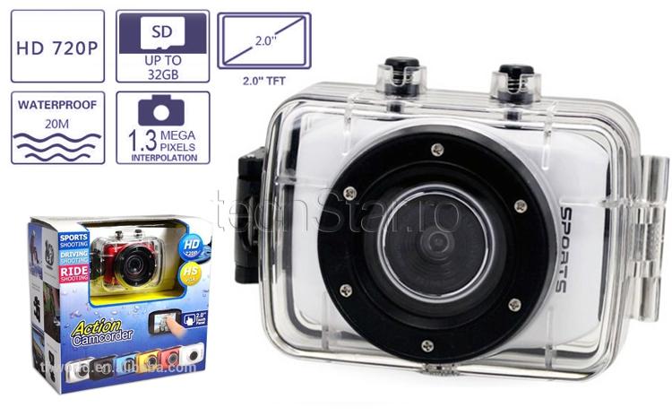 Camera Sport Si Auto Camcorder Hd Touchscreen Waterproof Pachet Full Cu Suporti De Prindere La Doar 297 Ron In Loc De 595 Ron