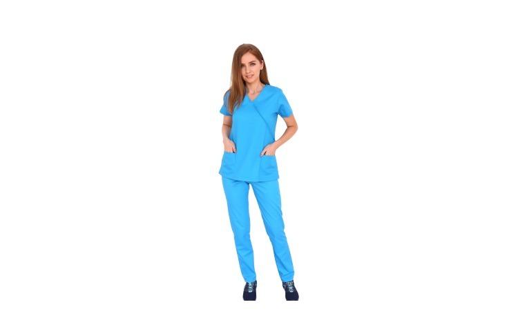 Costum medical turquoise, cu bluza in