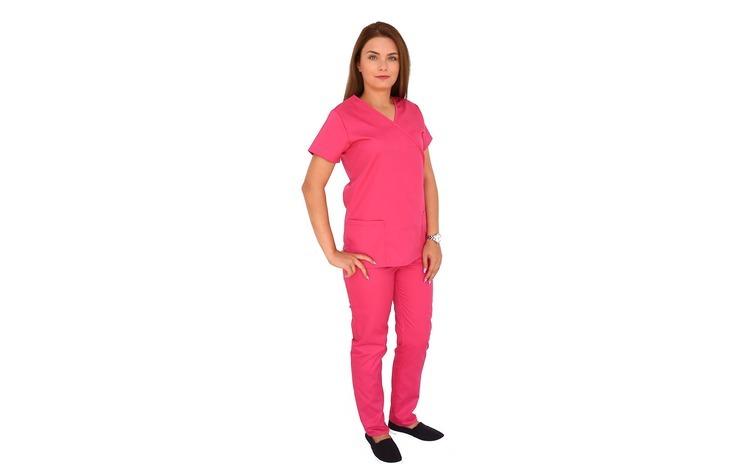 Costum medical ciclam cu bluza in forma