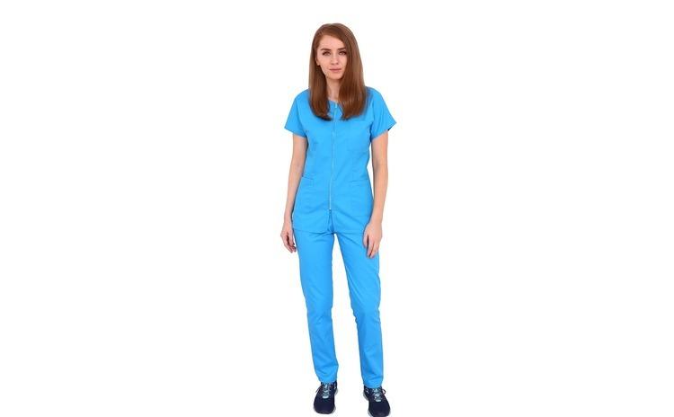 Costum medical turquoise, cu bluza cu