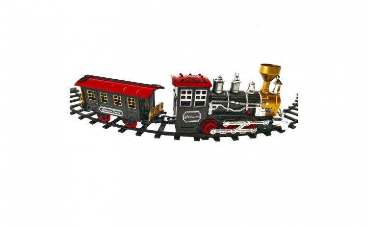 Trenulet electric cu fum, macaz si vagon