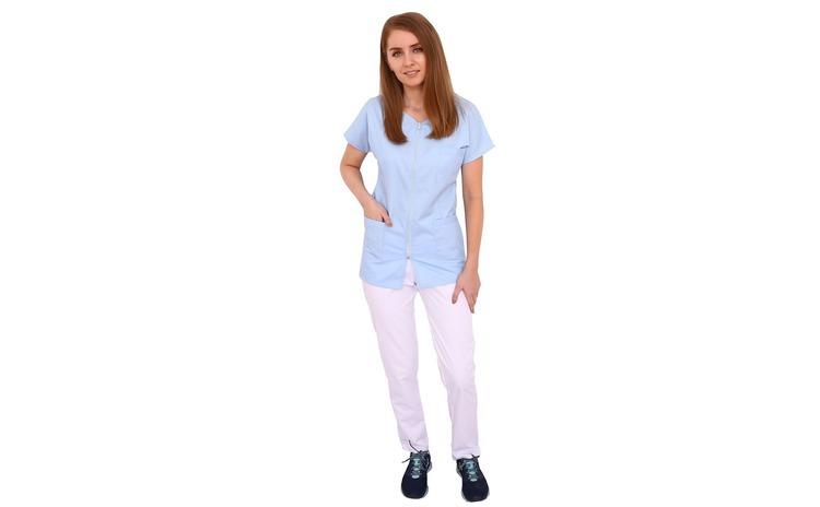 Costum medical bleu cu alb, bluza cu