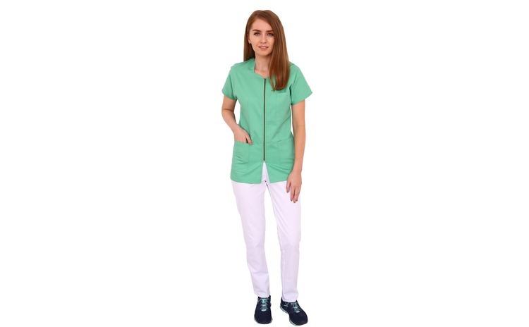 Costum medical vernil cu alb, bluza cu