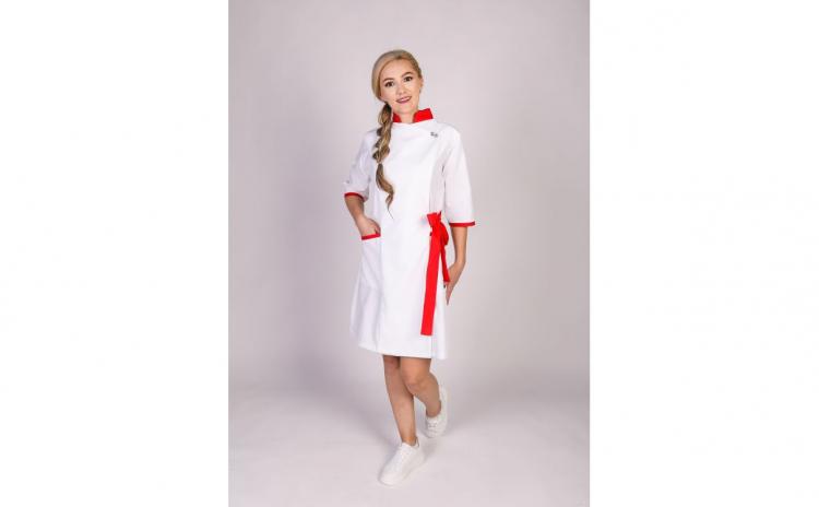 Sarafan medical kimono, Modern, Alb-Rosu