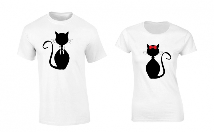 Set de tricouri albe Cats