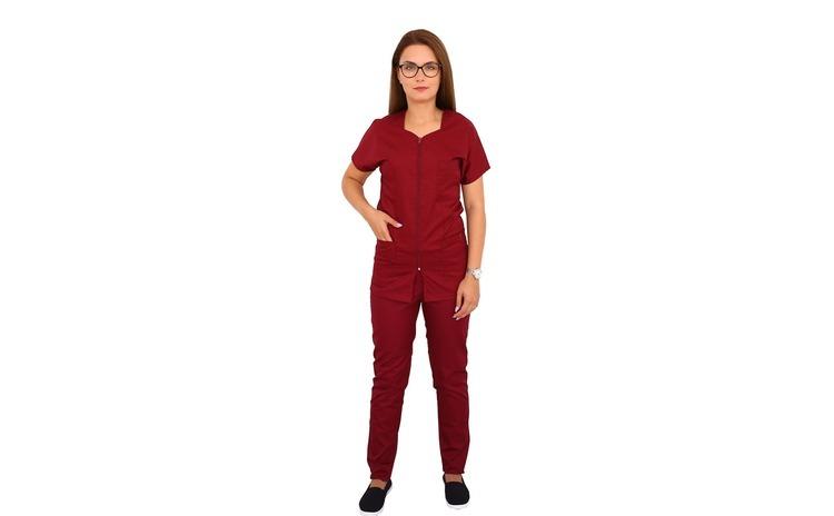Costum medical grena cu bluza cu