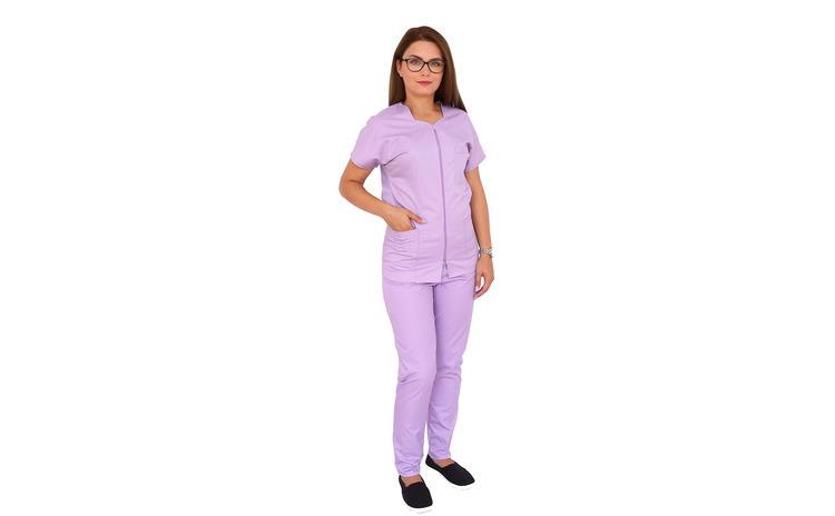 Costum medical lila cu bluza cu fermoar