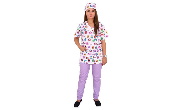 Costum medical Kitty, cu bluza cu