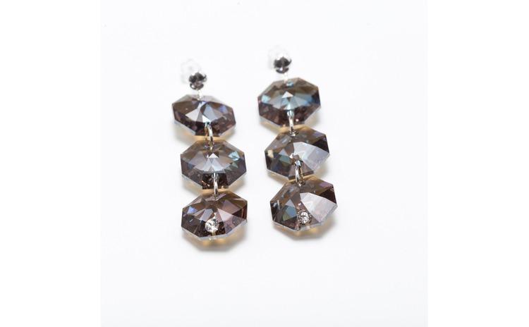 Cercei octogon cu trei cristale, cu