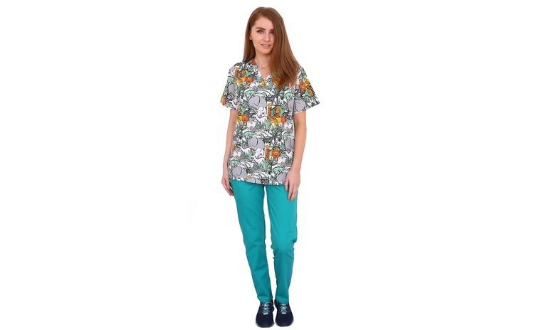 Costum medical Jungle, cu bluza cu