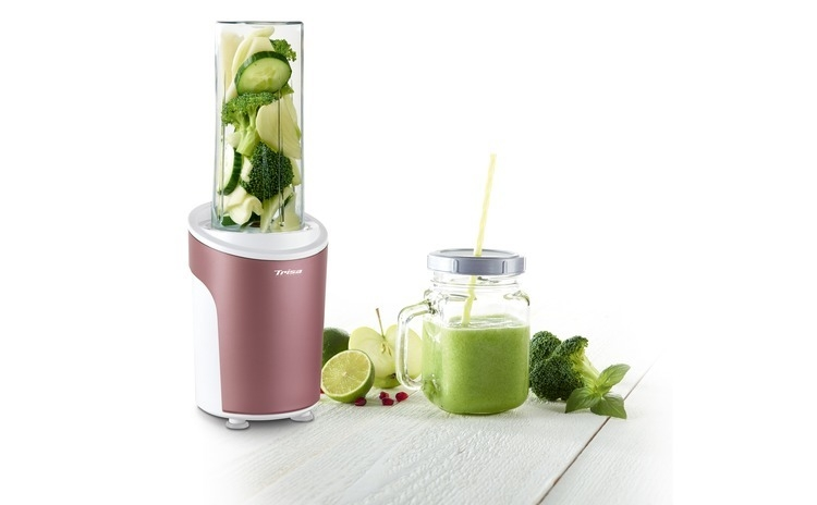 Nutriblender juicer Trisa Power Smoothie 6930.87, cutit cu 4 lame, 21.000rot/min, Rosu