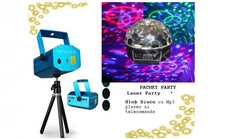 Pachet disco: Laser Disco cu doua culori + Glob Disco cu Mp 3 player si telecomanda la doar 135 RONin loc de 448 RON