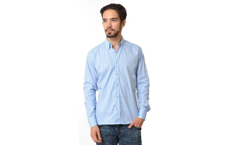 Camasa barbati regular bleu cu buline - The Original G+