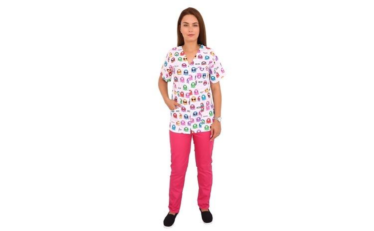 Costum medical Kitty, bluza cu imprimeu
