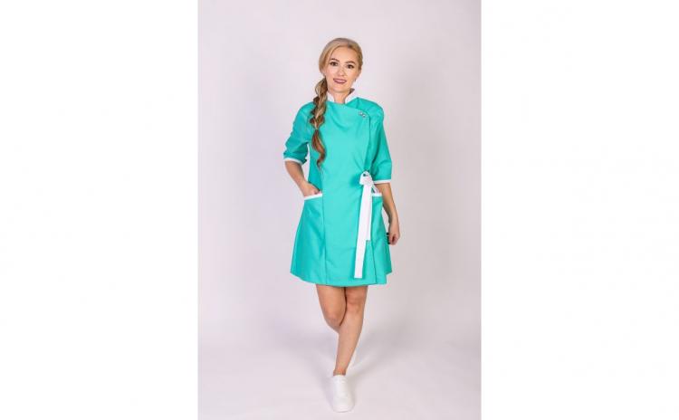 Sarafan medical kimono, Modern Verde-Alb