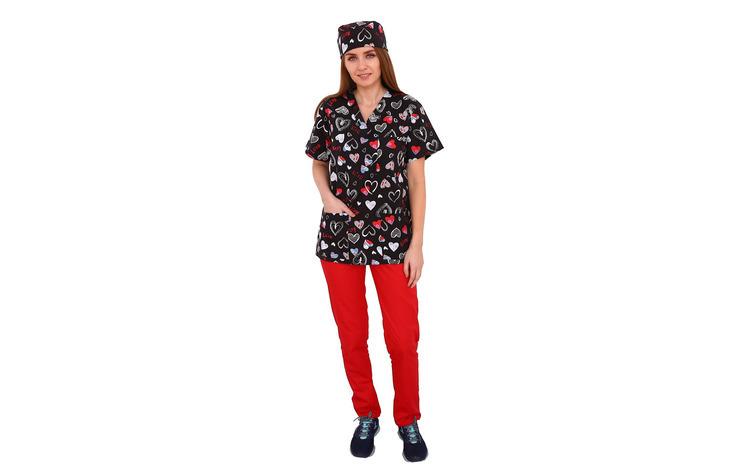 Costum medical Love, cu bluza cu