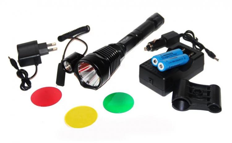 Image of Lanterna Led pentru vanatoare, geam interschimbabil, lumina alba, rosie, verde, galbena, suport de arma inclus