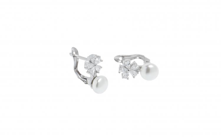 Cercei din argint cu zirconii si perle